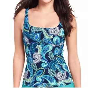 LANDS' END TANKINI SIZE 14 BLUE PAISLEY UNDERWIRE